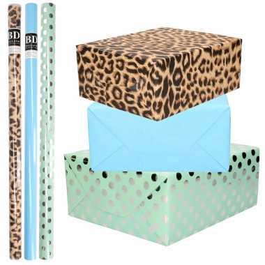 9x rollen kraft inpakpapier/folie pakket tijgerprint/blauw/groen zilveren stippen 200 x 70 cm