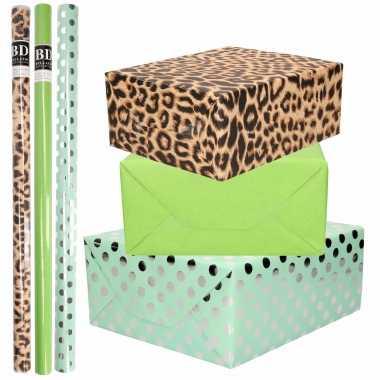 9x rollen kraft inpakpapier/folie pakket tijgerprint/groen/mintgroen zilveren stippen 200 x 70 cm