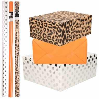 9x rollen kraft inpakpapier/folie pakket tijgerprint/oranje/wit met zilveren stippen 200 x 70 cm