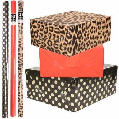 9x rollen kraft inpakpapier/folie pakket tijgerprint/rood/zwart met gouden stippen 200x70 cm