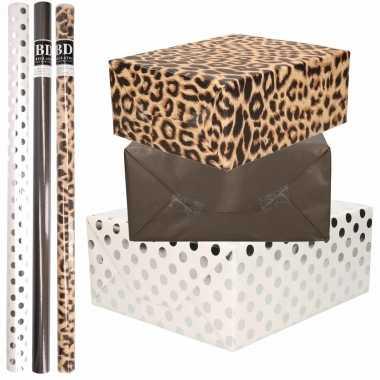 9x rollen kraft inpakpapier/folie pakket tijgerprint/zwart/wit met zilveren stippen 200 x 70 cm