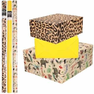 9x rollen kraft inpakpapier jungle/tijger pakket dieren/tijger/geel 200 x 70 cm