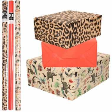 9x rollen kraft inpakpapier jungle/tijger pakket dieren/tijger/rood 200 x 70 cm