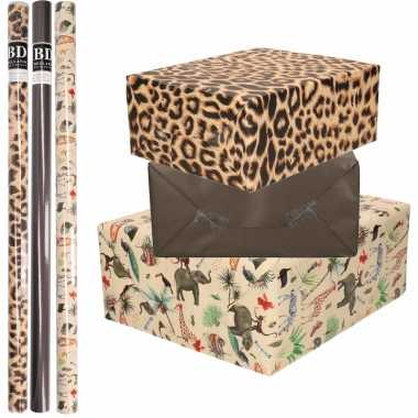 9x rollen kraft inpakpapier jungle/tijger pakket dieren/tijger/zwart 200 x 70 cm