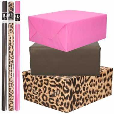 9x rollen kraft inpakpapier pakket tijger/tijger thema roze/zwart 200 x 70 cm