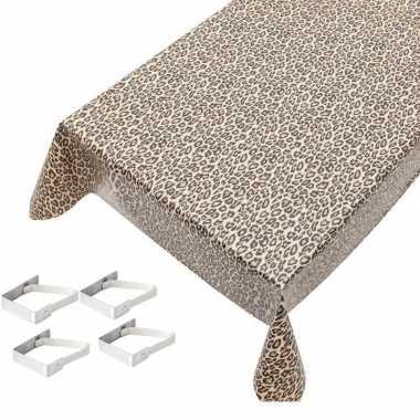 Bruine tafelkleden/tafelzeilen tijger print 140 x 245 cm rechthoekig