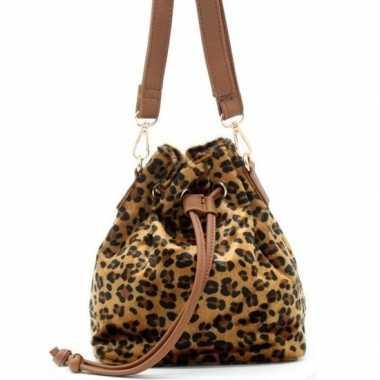 Bruine/zwarte tijgerprint schoudertas/cross body tas/bucket bag 30 cm