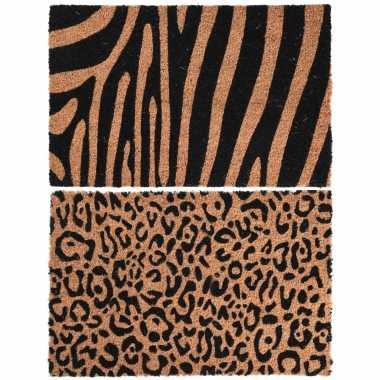 Dieren tijger/zebra opdruk deurmat/buitenmat kokos 39 x 59 cm