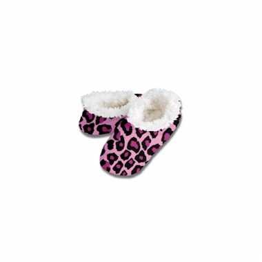 Dierenprint sloffen roze tijger