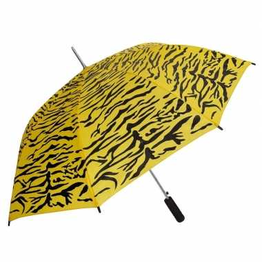 Geel/zwarte tijger opdruk paraplu 80 cm