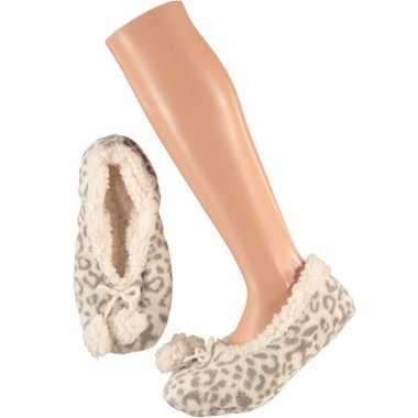 Grijze ballerina dames pantoffels/sloffen met tijgerprint maat 40 42