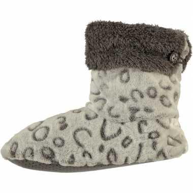 Grijze hoge dames pantoffels/sloffen met tijgerprint en omslag