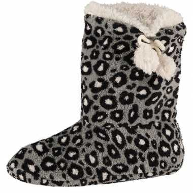 Grijze hoge dames pantoffels/sloffen met tijgerprint