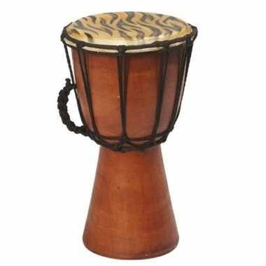Handgemaakte houten drum met tijgerprint 25 cm
