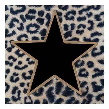 Kerstservetten met tijgerprint en zwart/gouden ster 100 stuks 33 x 33