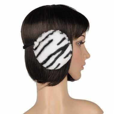 Nepbonten oorwarmers tijger print wit voor dames