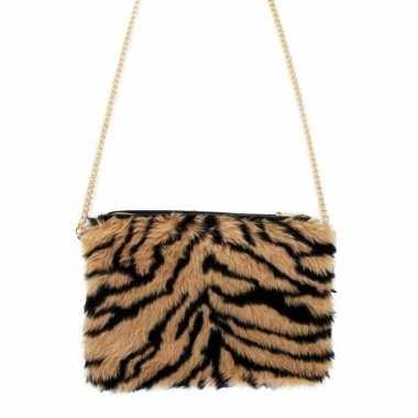 Pluche schoudertasje tijger print voor dames