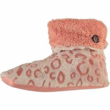 Roze hoge dames pantoffels/sloffen met tijgerprint en nepbont omslag