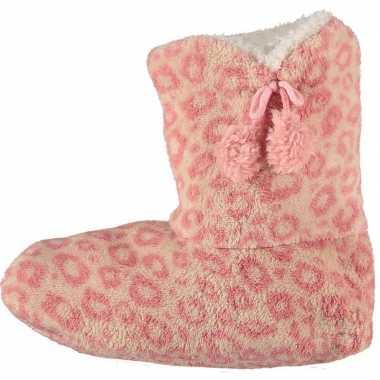 Roze hoge dames pantoffels/sloffen met tijgerprint