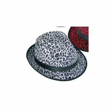 Tijger print hoedje wit voor volwassenen