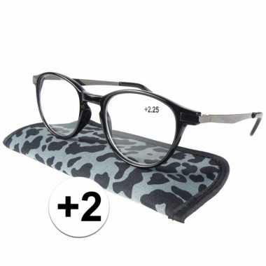 Voordelige grijze tijgerprint leesbril +2