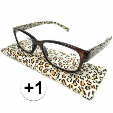 Voordelige tijgerprint leesbril +1