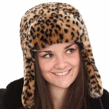 Warme tijgerprint muts voor dames