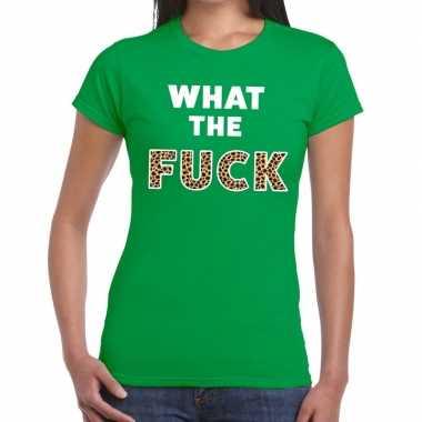 What the fuck tijger print fun t shirt groen voor dames