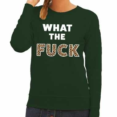 What the fuck tijgerprint fun sweater groen voor dames