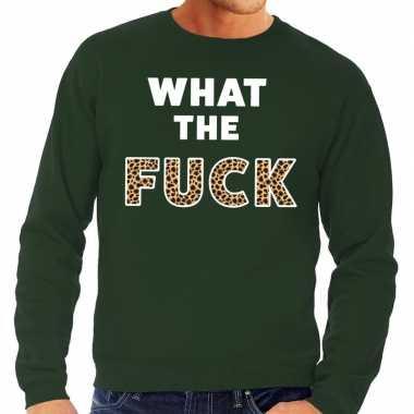 What the fuck tijgerprint fun sweater groen voor heren