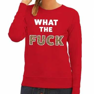 What the fuck tijgerprint fun sweater rood voor dames
