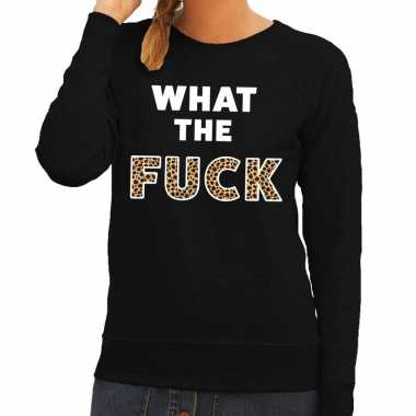What the fuck tijgerprint fun sweater zwart voor dames