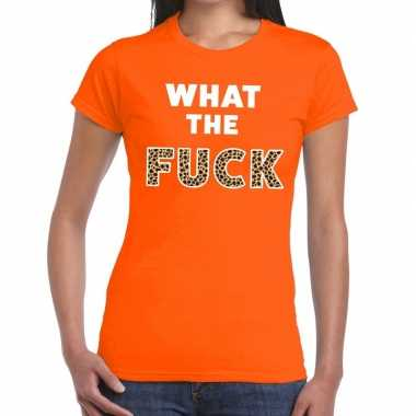 What the fuck tijgerprint fun t shirt oranje voor dames