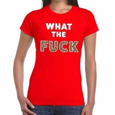 What the fuck tijgerprint fun t shirt rood voor dames