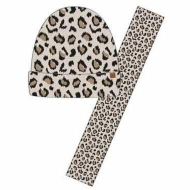 Wintersetje sjaal en muts beige tijger/tijger print voor meisjes