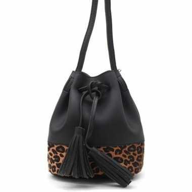 Zwarte/bruine tijgerprint schoudertas/cross body tas/bucket bag 30 cm