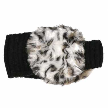 Zwarte hoofdband met oorwarmers met bruine tijgerprint