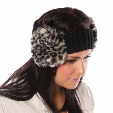 Zwarte hoofdband met oorwarmers met tijgerprint