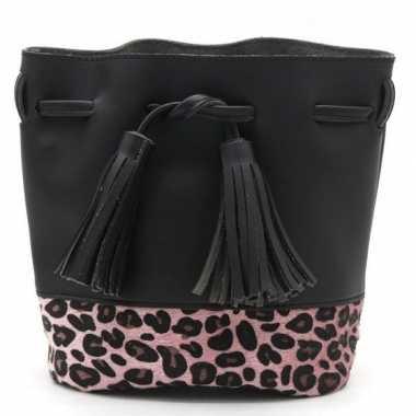 Zwarte/roze tijgerprint schoudertas/cross body tas/bucket bag 30 cm
