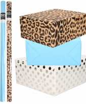 12x rollen kraft inpakpapier folie pakket tijgerprint blauw wit met zilveren stippen 200 x 70 cm