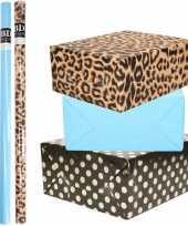 12x rollen kraft inpakpapier folie pakket tijgerprint blauw zwart met gouden stippen 200 x 70 cm