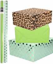 12x rollen kraft inpakpapier folie pakket tijgerprint groen mintgroen zilveren stippen 200 x 70 cm