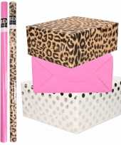 12x rollen kraft inpakpapier folie pakket tijgerprint roze wit met zilveren stippen 200 x 70 cm