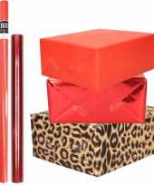 12x rollen kraft inpakpapier pakket tijger dierenprint metallic rood 200 x 70 50 cm