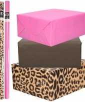 12x rollen kraft inpakpapier pakket tijger tijger thema roze zwart 200 x 70 cm