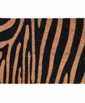 2x dieren tijger zebra opdruk deurmat buitenmat kokos 39 x 59 cm