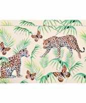 2x rechthoekige kunststof bordjes plankjes met tijger tijger print voor kinderen