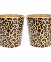 2x stuks bloempotten keramiek aardewerk voor kamerplanten tijger print d11 x h11 cm