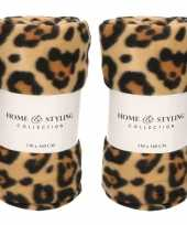 3x fleece dekens plaids tijger tijger print 130 x 160 cm