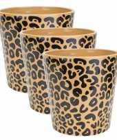 3x stuks bloempotten keramiek aardewerk voor kamerplant tijger print d13 x h13 cm